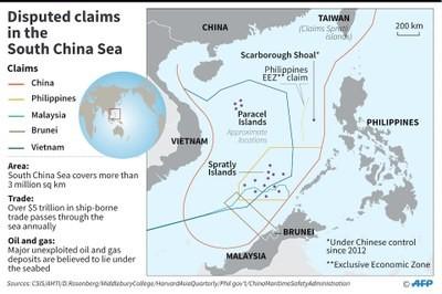 Hình minh hoạ. Bản đồ Biển Đông có đường 9 đoạn do Trung Quốc tự vẽ ra