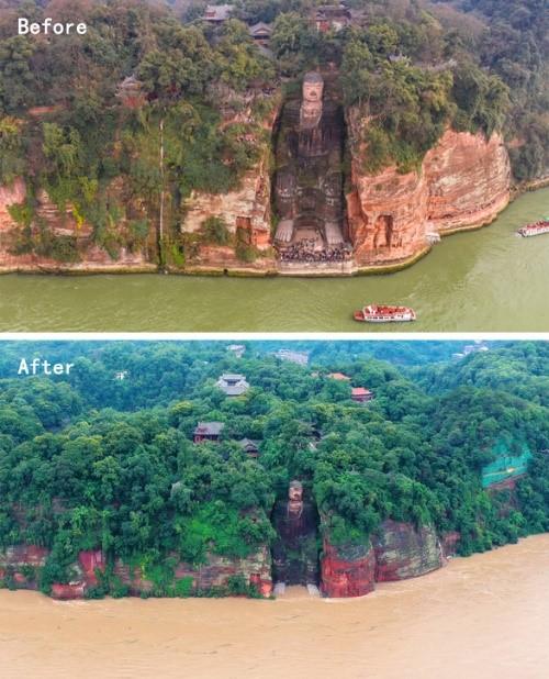 Lũ bùn đã lên tới chân tượng Phật khổng lồ 1.000 năm tuổi ở Trung Quốc - Ảnh 2.